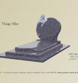 GPG 68/A Stèle G 38 sulpture SP 28 presenté en granit Vizag Blue