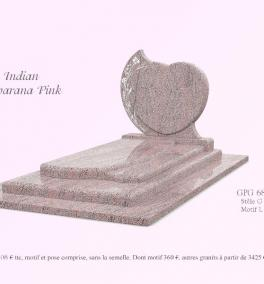 GPG 68/A stèle G 68 et motif L55 présenté en granit indian Juparana Pink