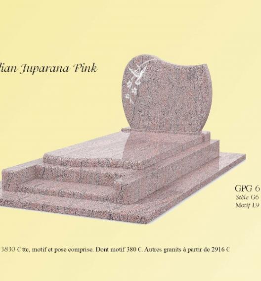 GPG 6 en granit poli  Indian juparan Pink,motif L9 lithogravure blanc stèle sur socle
