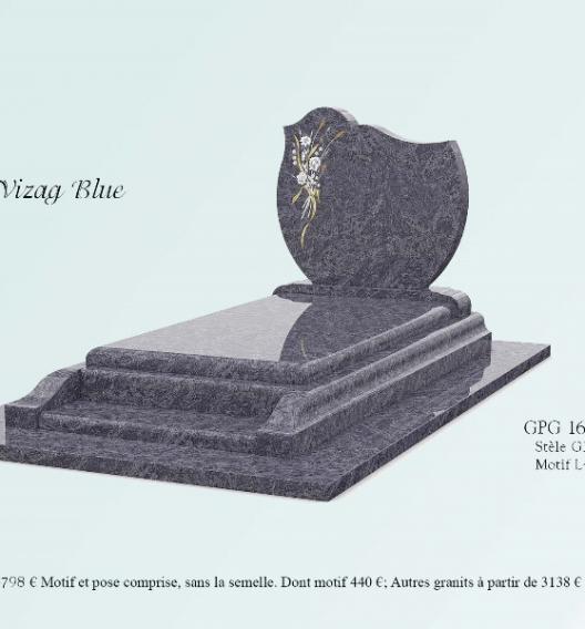 GPG16/A stèle G37, motif L41 présenté en granit Vizag blue, prie-dieu,