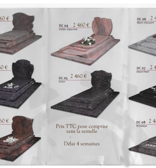 Gamme Express, monuments en granit  avec disponibilité en 1 mois